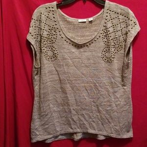 Cato Tan and Gold Shimmer Studded Top